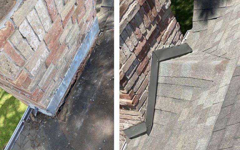 Local roof repair to leaking chimney.